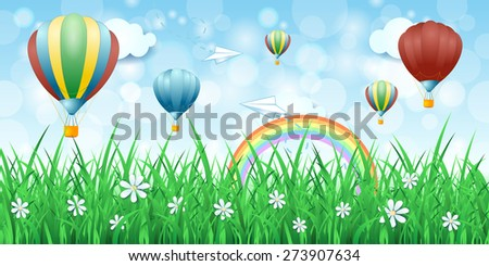 Spring background with hot air balloons, vector eps10 - stock vector