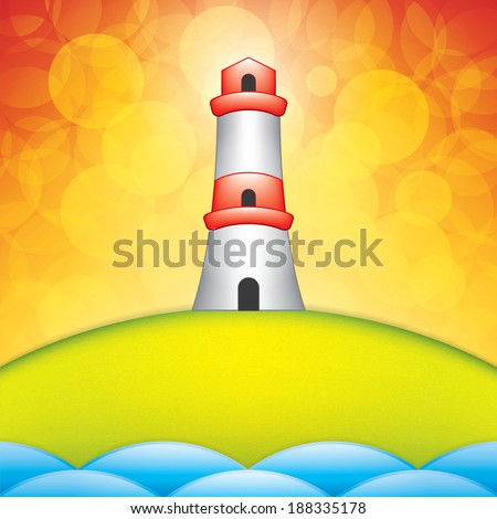 Spring background with lighthouse - stock vector
