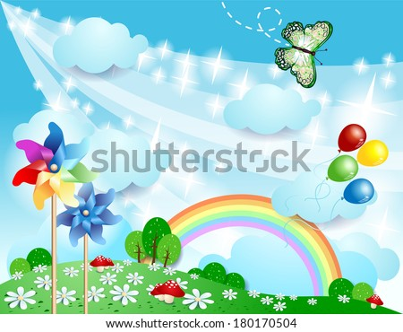 Spring background with pinwheels and butterfly. Vector