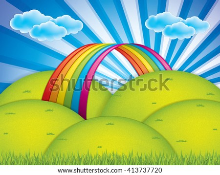 Spring background with rainbow and clouds - stock vector