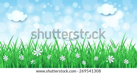 Spring background with sky and grass, vector eps10 - stock vector