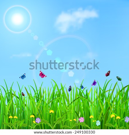 Spring background with sky, sun, grass, flowers and butterflies - stock vector