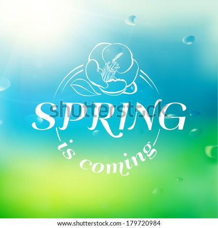 Spring background with text.  Vector illustration. - stock vector