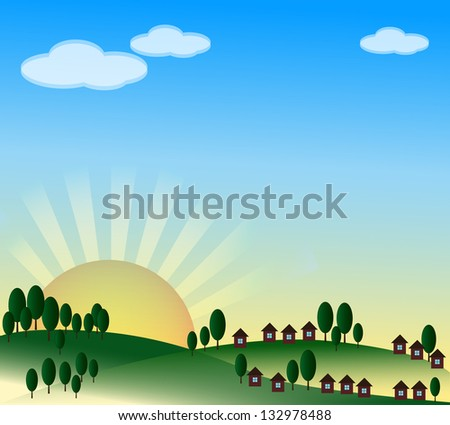 Spring background with village, sunrise and blue sky