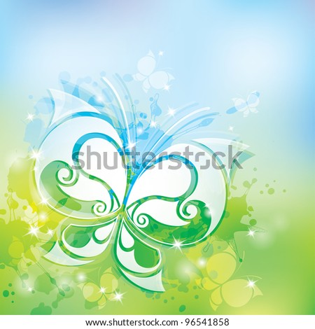 spring background with white butterfly and transparent blots - stock vector