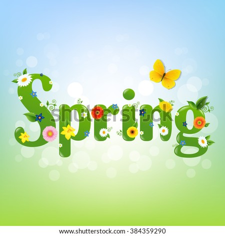 Spring Banner With Gradient Mesh, Vector Illustration - stock vector