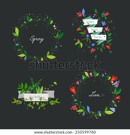 Spring Banners, set of four. Vector illustration. - stock vector