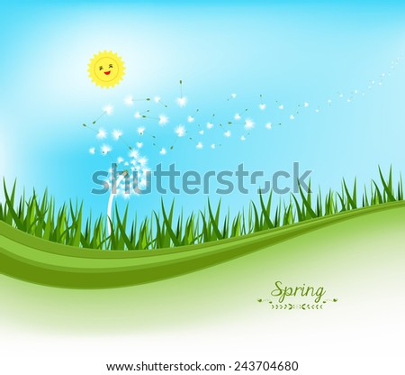 spring banners with dandelion and blue sky - stock vector