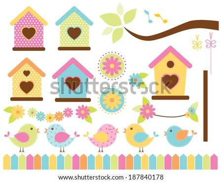 Spring Birds / Bird Garden - stock vector