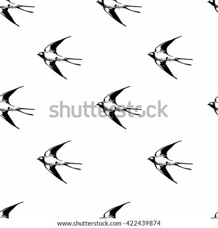 spring birds illustration, seamless, pattern swallow  - stock vector