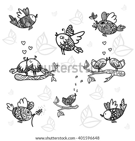 Spring birds outline. Vector. Set the birds are singing, fly, love. Lovers birdies. Singing birds. Bird with twig in beak.