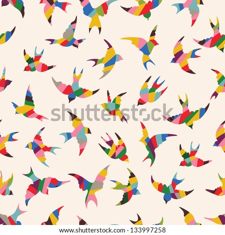 Spring birds seamless pattern. Colorful texture on white background - stock vector