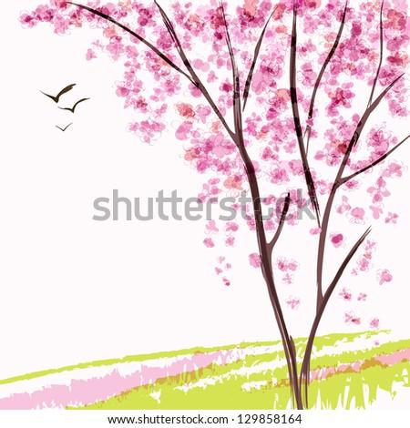 Spring blooming tree. Pink flowers - stock vector