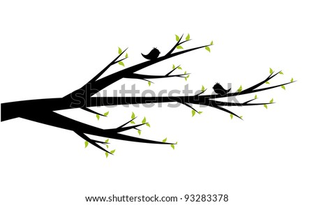 Spring branch with early levels and cheerful birds - stock vector