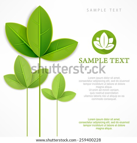 Spring branch with green leaves on white & text, vector illustration - stock vector