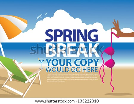 Spring Break Template. EPS 8 vector, grouped for easy editing. No open shapes or paths. - stock vector