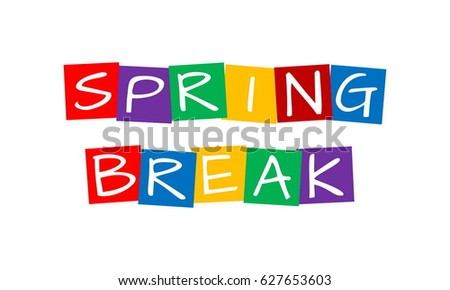 spring break, text in colorful rotated squares