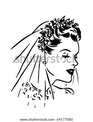 Spring Bride - Retro Clipart Illustration - stock vector