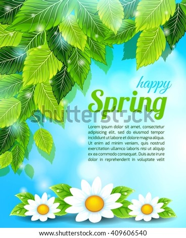 Spring, bright blue background, light leaves, chamomile flowers. Text block. Vector illustration - stock vector