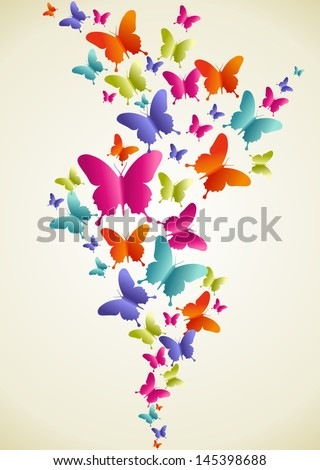 Spring butterfly color composition. Vector illustration layered for easy manipulation and custom coloring. - stock vector
