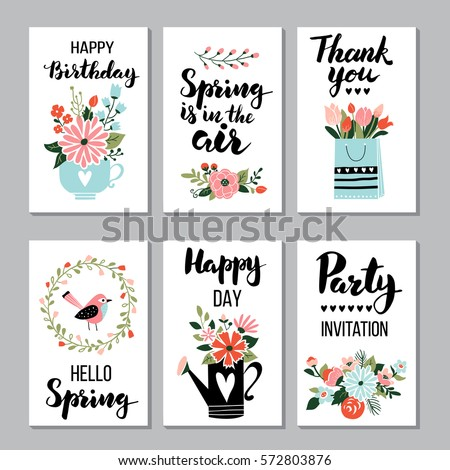 Spring card set spring quotes calligraphy stok vektr 572803876 spring card set with spring quotes calligraphy flowers wreath perfect for greeting m4hsunfo