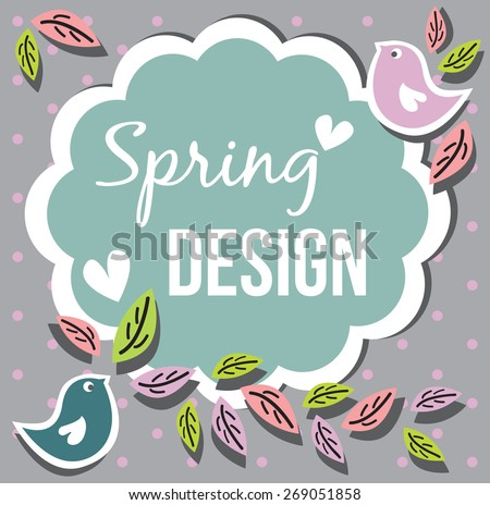 Spring card. Vector.Background - stock vector