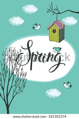Spring card with birds and bird houses, blue background - stock vector