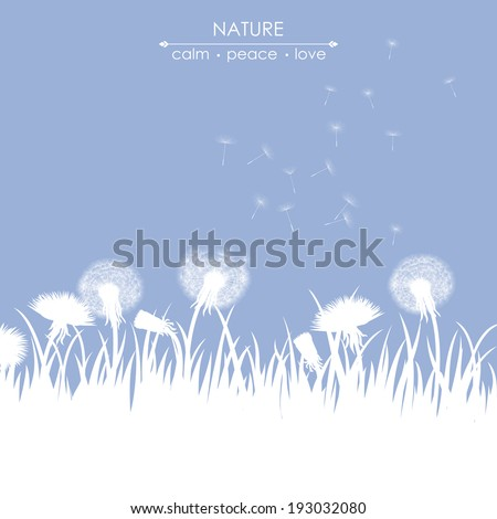 Spring card with dandelions on blue background - stock vector