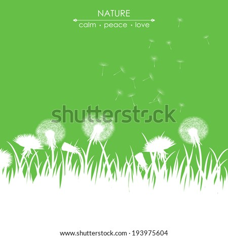 Spring card with dandelions on green background - stock vector