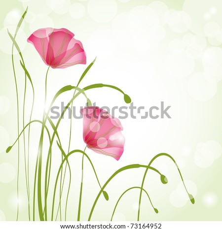 Spring card with poppies - stock vector