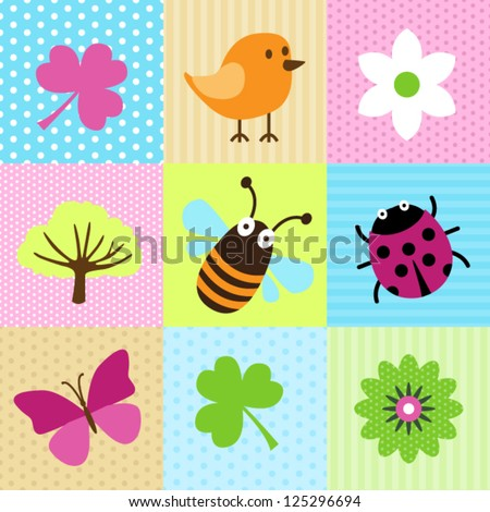 Spring Cartoons For Web Or Print - stock vector