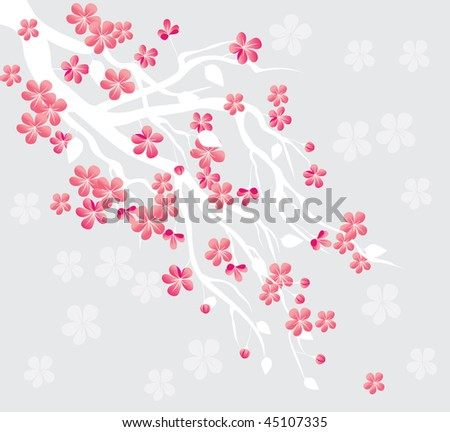 spring cherry blossom - stock vector
