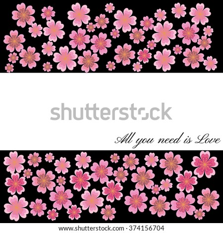 Spring Cherry blossoms in full bloom fading in to black background. Black emphasizes the beauty of flowers. Vector - stock vector