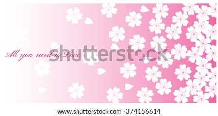 Spring Cherry blossoms in full bloom fading in to pink background. Vector - stock vector