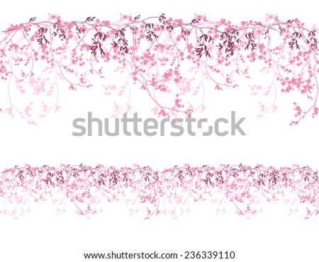 spring cherry tree horizontally seamless border - shades of pink sakura flowers vector design - stock vector