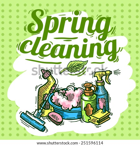 spring cleaning - stock vector