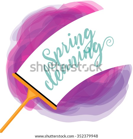 Spring Cleaning cheerful watercolor squeegee design EPS 10 vector royalty free stock illustration - stock vector