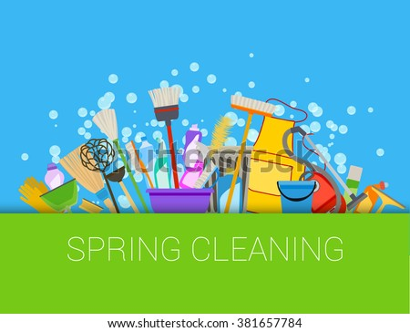 Spring cleaning composition background. Set of cleaning supplies. Tools of housecleaning. Vector - stock vector