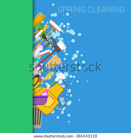 Spring cleaning vertical border background. Set of cleaning supplies. Tools of housecleaning. Vector - stock vector