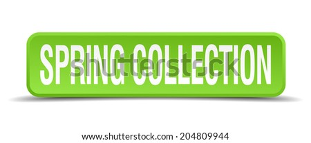 Spring collection green 3d realistic square isolated button