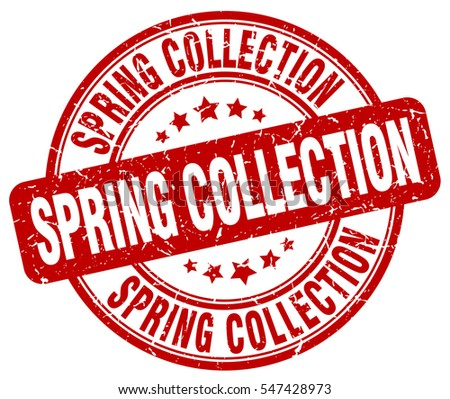 spring collection. stamp. red round grunge vintage spring collection sign