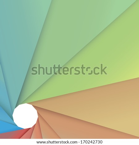 Spring color concept edition of a scalable eps10 vector of an abstract geometric and central composed minimal background in turquoise for print, brochure, infographics, advertisement or presentation - stock vector