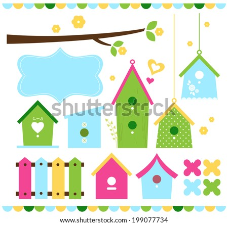 Spring colorful bird houses isolated on white - stock vector