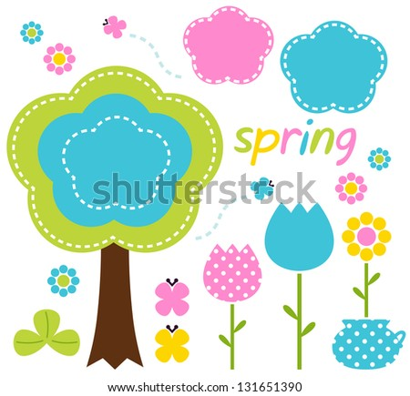 Spring colorful flowers and nature design elements