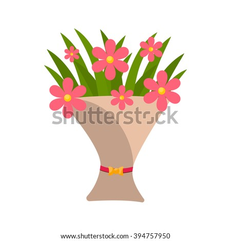 Spring colorful flowers vector illustration. Decoration color blossom. Flower bloom fresh branches pink flowers. - stock vector