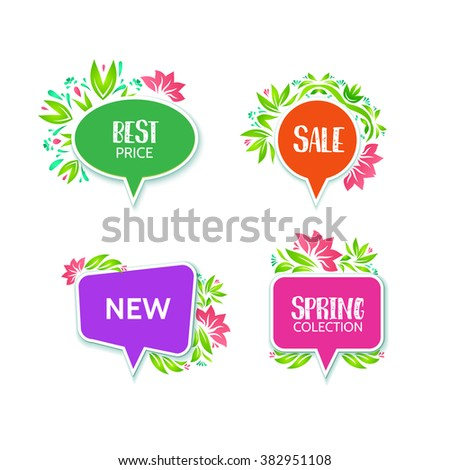 Spring communication price tag set  isolated on the white background. Vector abstract illustration. Bright colors bubbles with floral decor. Sale, best offer, new, spring collection business label - stock vector
