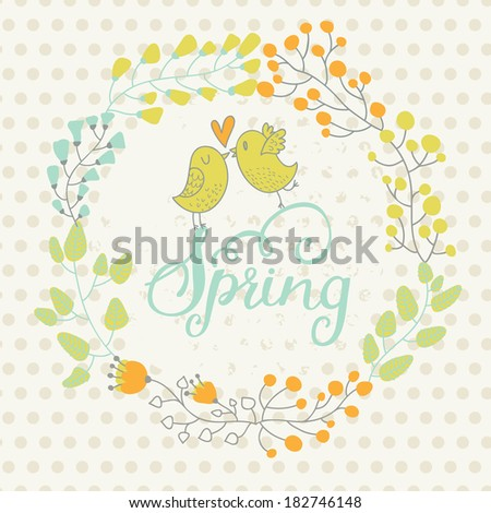 Spring concept card in warm colors. Cute vector background made of leafs, hearts and birds in cartoon style - stock vector