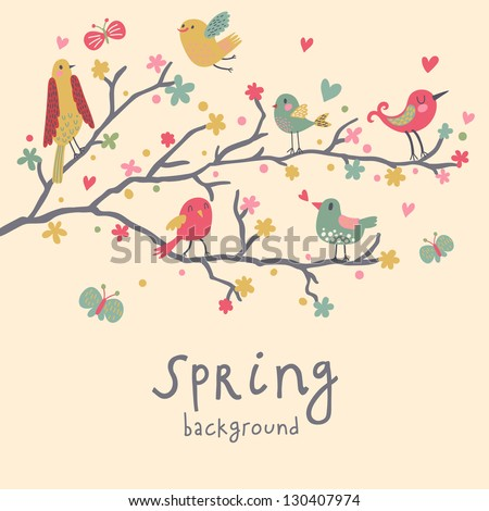 Spring concept illustration. Birds on branches in vector � Cute nature wallpaper - stock vector