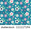 spring cute flowers seamless pattern background - stock vector