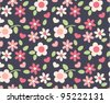 spring cute flowers seamless pattern background - stock photo